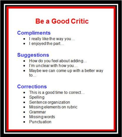 BE A GOOD CRITIC